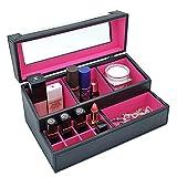 4 Queens Handmade Black PU leather Makeup cosmetic Box Jewelry Box display ...