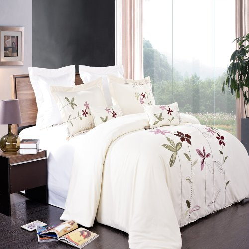 South Garden Ivory Embroidered 5 Piece (5PC) King Size Comforter Cover (DUVET COVER) Set, Ultra Soft Single Ply Wrinkle Free Brushed Microfiber. ()