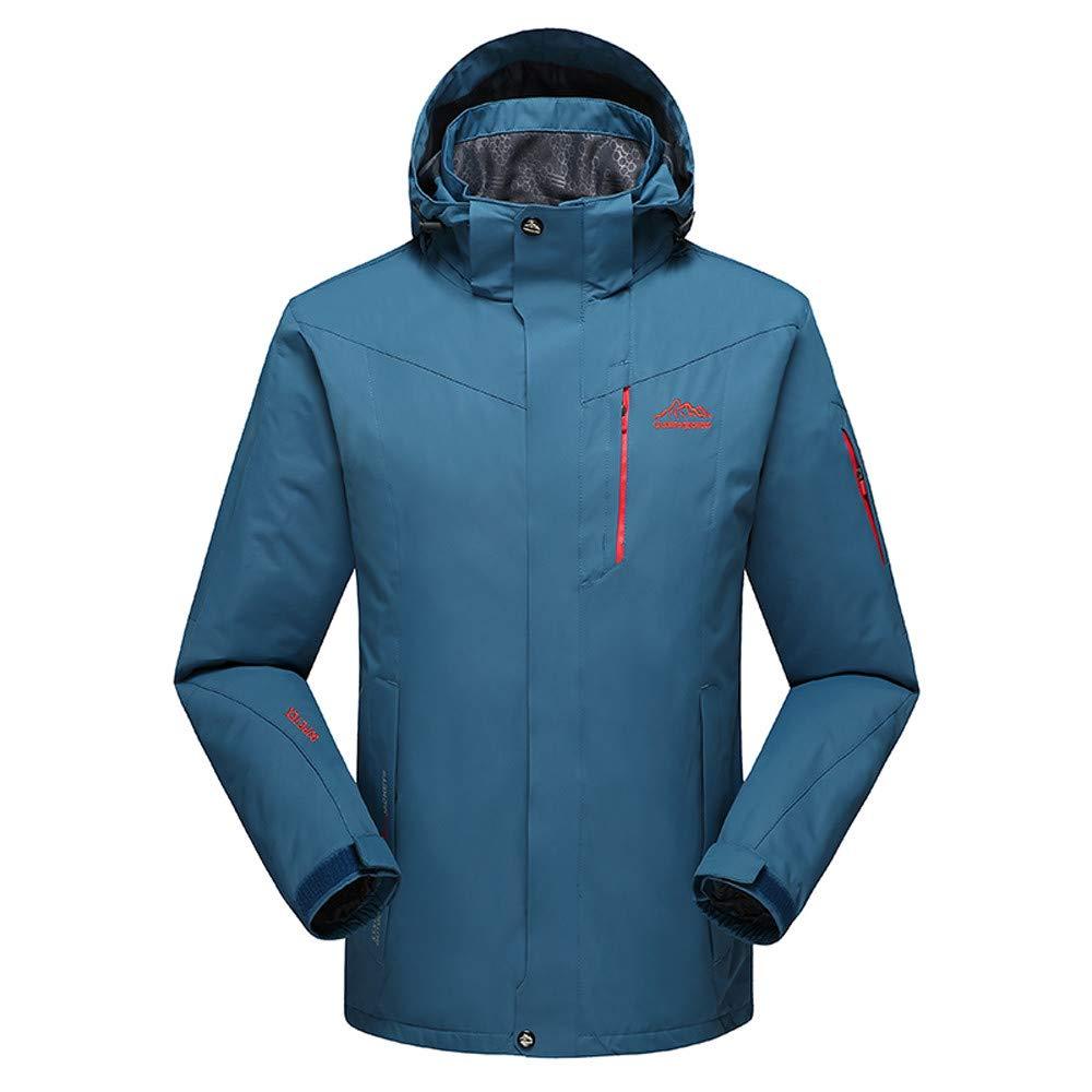 YKARITIANNA Men's Winter Outdoor Skiing Anorak, Autumn Winter Outdoor Cashmere Zipper Hoodie Sport Outdoor Assault Coat Navy