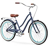 "sixthreezero EVRYjourney Women's Single Speed Step-Through Hybrid Cruiser Bicycle, Navy w/Brown Seat/Grips, 26"" Wheels/ 17.5"" Frame"
