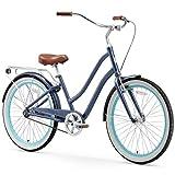 sixthreezero EVRYjourney Women's Single Speed Step-Through Hybrid Cruiser Bicycle, Navy w/Brown Seat/Grips, 26' Wheels/ 17.5' Frame