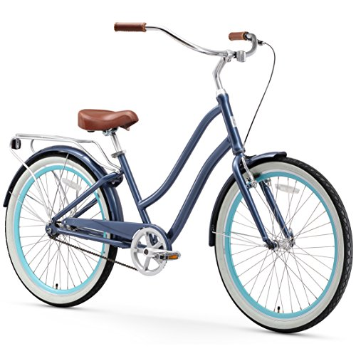 sixthreezero EVRYjourney Women's Single-Speed Step-Through Hybrid Cruiser Bicycle, Navy Blue (Ladies Bicycle With Basket)