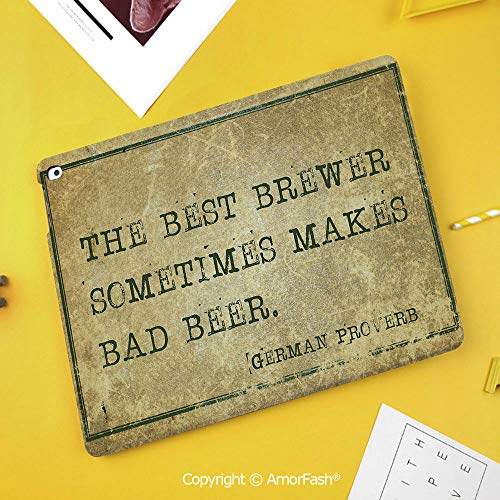 Slim Case for Samsung Galaxy Tab S4 T830 T835 SM-T837 10.5 Protective,Man Cave Decor,Ancient German Proverb Words of Wisdom Brewer Beer Philosophy,Light Brown Army Green (Brewers Samsung Galaxy S4 Case)