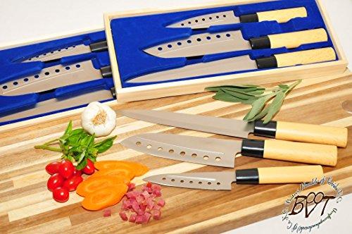Drei Stk. Messerset geliefert mit 3 Aufbewahrungsboxen, extra-scharf für perfekte Ergebnisse, Messer-Set Asia Messerset mit Edelstahl Klingen, Fisch, Fleisch, Gemüse, Obst und Sushi-Messer, 3x-ANTIHAFT, Kleines Yanagiba-Messer Yanagibamesser Gemüsemesser Klinge 12 cm 12cm 23,5 cm 23,5cm robuster Griff, in traditioneller Holzoptik präzises Schneiden