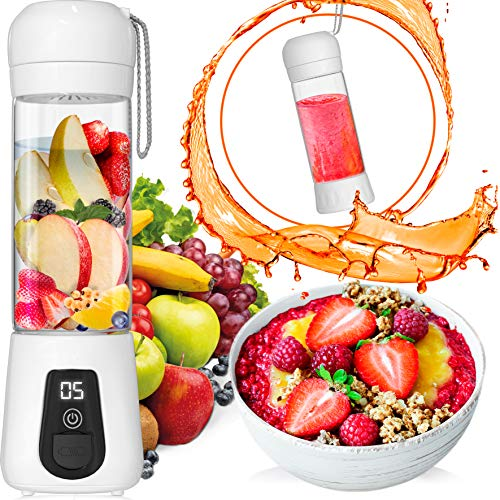 Portable Blender Lacomri – Powerful Crusher for Frozen Fruits and Veggies – Travel Blender – Cordless Blender – Portable Blender USB Rechargeable – Personal Blender – Mini Blender with Stainless-Steel Blades – Ideal for Healthy Juices and Smoothies