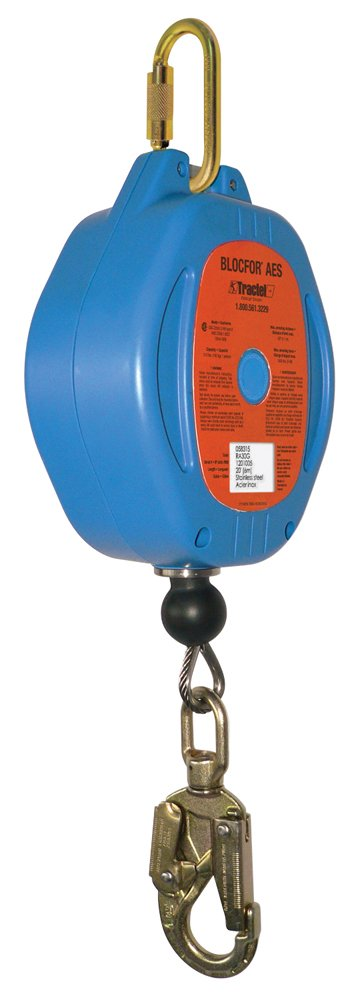 Tractel RA20G Blocfor AES Self-Retracting Lifeline with Galvanized Steel Wire Rope, 20', Blue