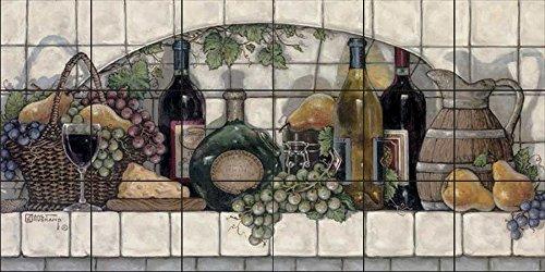 (Ceramic Tile Mural - Wine Fruit and Cheese Pantry - by Janet Kruskamp - Kitchen backsplash/Bathroom Shower)