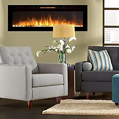 """Regal Flame Astoria 60"""" Built-in Ventless Recessed Wall Mounted Electric Fireplace Better than Wood Fireplaces, Gas Logs, Inserts, Log Sets, Gas, Space Heaters, Propane"""