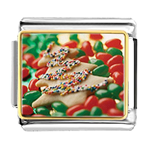 GiftJewelryShop Gold Plated Christmas Tree Cookie and Candy Bracelet Link Photo Italian Charm