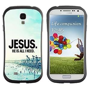 LASTONE PHONE CASE / Suave Silicona Caso Carcasa de Caucho Funda para Samsung Galaxy S4 I9500 / BIBLE Jesus. He Is All I Need