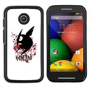 Qstar Arte & diseño plástico duro Fundas Cover Cubre Hard Case Cover para Motorola Moto E (Raid Noche)
