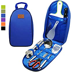 8Pcs Camping Cookware Kitchen Utensil Organizer Travel Set - Portable BBQ Camp Cookware Utensils Travel Kit with Water Resistant Case, Cutting Board, Rice Paddle, Tongs, Scissors, Knife (Blue)