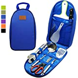 Gold Armour 8pcs Camping Cookware Kitchen Utensil Organizer Travel Accessories Set - Portable BBQ Camp Cookware Utensils Travel Kit with Water Resistant Case, Cutting Board, Rice Paddle, Tongs, Knife