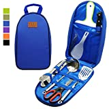 8Pcs Camping Cookware Kitchen Utensil Organizer Travel Set - Portable...