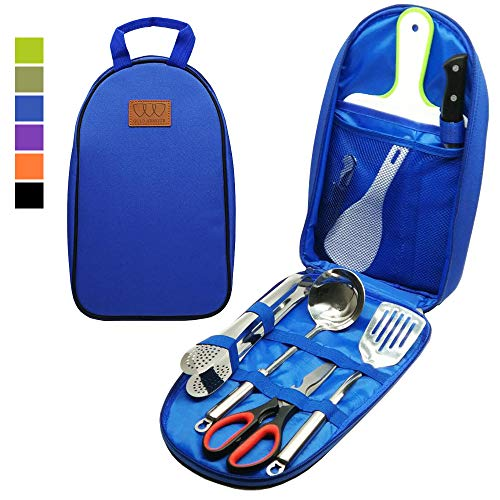 8pcs Camping Cookware Kitchen Utensil Organizer Travel Set - Portable Bbq Camp Cookware Utensils Travel Kit with Water Resistant Case, Cutting Board, Rice Paddle, Tongs, Scissors, Knife (Blue) (Travel Kitchen Utensils)