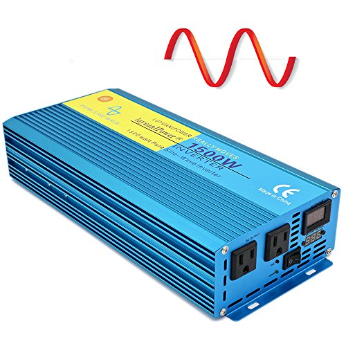 Cantonape Car Boat RV 1500W/3000W(Peak) Pure Sine Wave Power Inverter DC 12V to 110V AC with LCD Display by Cantonape