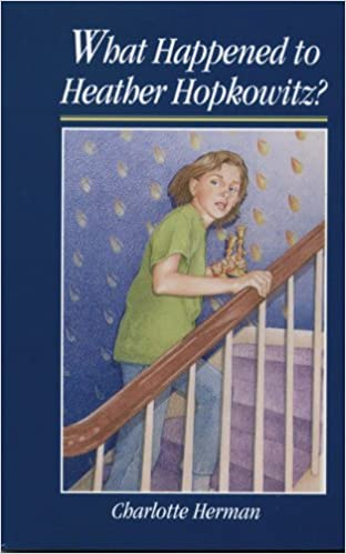 book cover: What Happened to Heather Hopkowitz. Drawing of tween girl sneaking upstair with a pair of candlesticks.