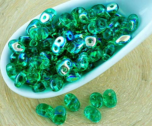 20g Crystal Emerald Green AB Half SUPERDUO Czech Glass Seed Beads Two Hole Super Duo 2.5mm x (Emerald Ab Beads)