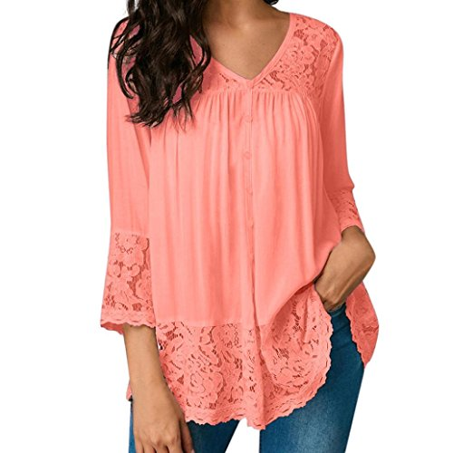 Amazon.com : HOSOME Women Top Women Loose Three Quarter V-Neck T Shirts Tops Lace Blouse : Grocery & Gourmet Food