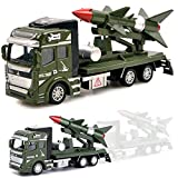 UiiQ Pull Back Military Toy Car Friction Powered 1:48 Launcher Fighter Military Truck Toy Preschool Learning Toys Set for Boys Kids Toddler(Rocket Truck)