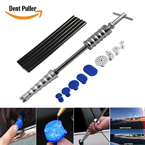 Car Dent Puller, Auto Body Dent Removal Tools Kit Silde Hammer with 9 Pcs Glue Puller Tabs Glue Sticks Hail Damage Remaol Kit for Car Body Dent Repair