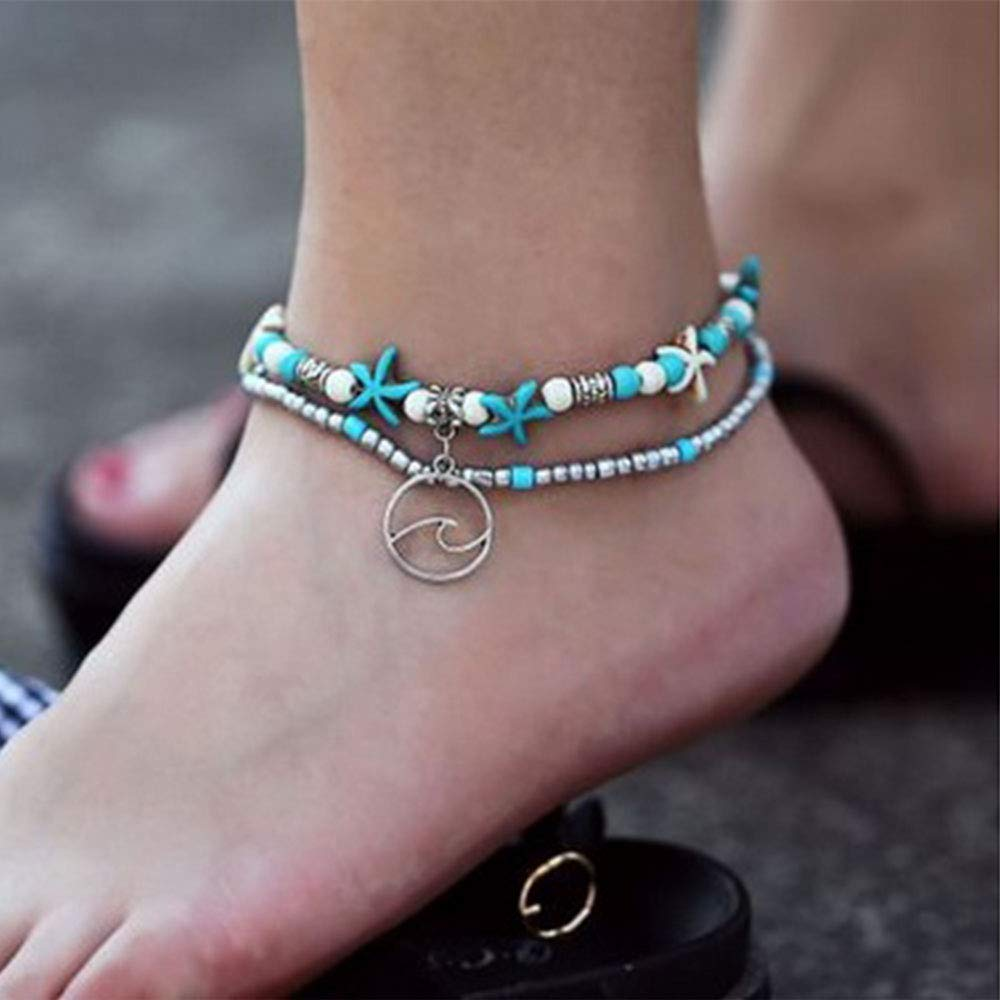Newest Handmade Beach Anklet Bracelet for Women Turtle Starfish Wave Mermaid Beads Adjustable Layered Anklet Foot Jewelry