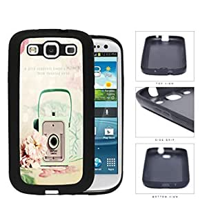 Mint Vintage Snapshot Camera With Rose Flower Rubber Silicone TPU Cell Phone Case Samsung Galaxy S3 SIII I9300