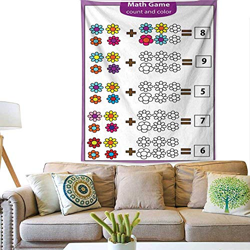 BlountDecor Simple Tapestry Math Educational Game for Children Counting Equations Addition worksheet 51W x 60L INCH