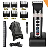 Professional Electric Hair Clippers For Men, Best Hair Trimmer Quiet Cordless For Boy & Kids, Personal Ceramic Hair Cutting Cape Gift Set, Household USB LED Display Rechargeable Haircut Kit