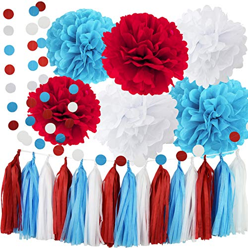 Dr Seuss Cat in The Hat Party/Dr Suess Decor Bridal Shower Decorations Turquoise White Red Tissue Pom Pom Circle Garland for Baby Shower Decorations/Birthday Decorations/Aqua Red Wedding Decorations -