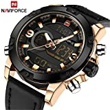 Men Analog Digital Leather Sports Watches Men's Army Led Military Watch Man Quartz Wath