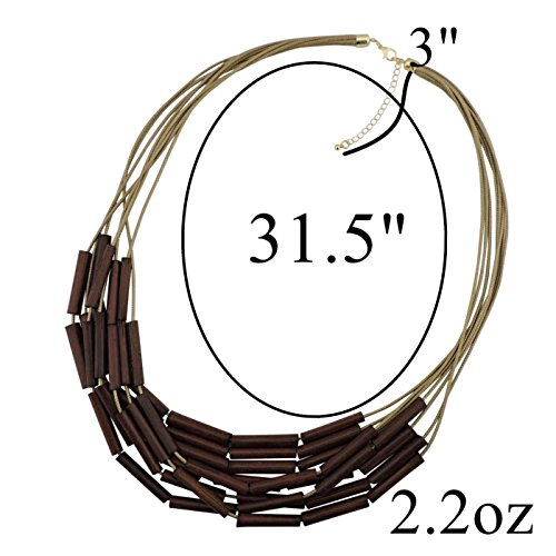 Bocar Long Multiple Strand Wood Beaded Statement Necklace for Women (NK-10500) by Bocar (Image #5)