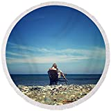 Pixels Round Beach Towel With Tassels featuring ''Summer Girl'' by Stelios Kleanthous