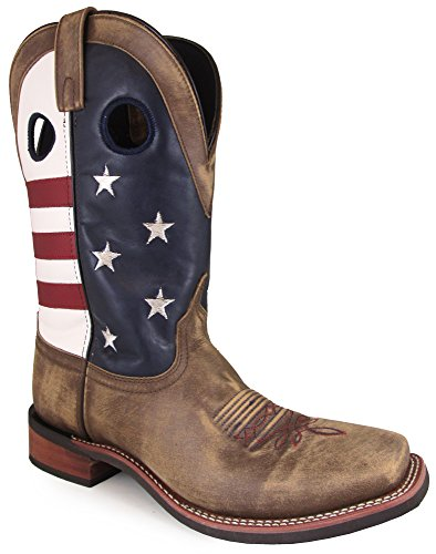 Smoky Mountain Mens Stars and Stripes Vintage Brown Leather Cowboy Boots 10.5 D