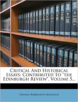 Book Critical And Historical Essays: Contributed To