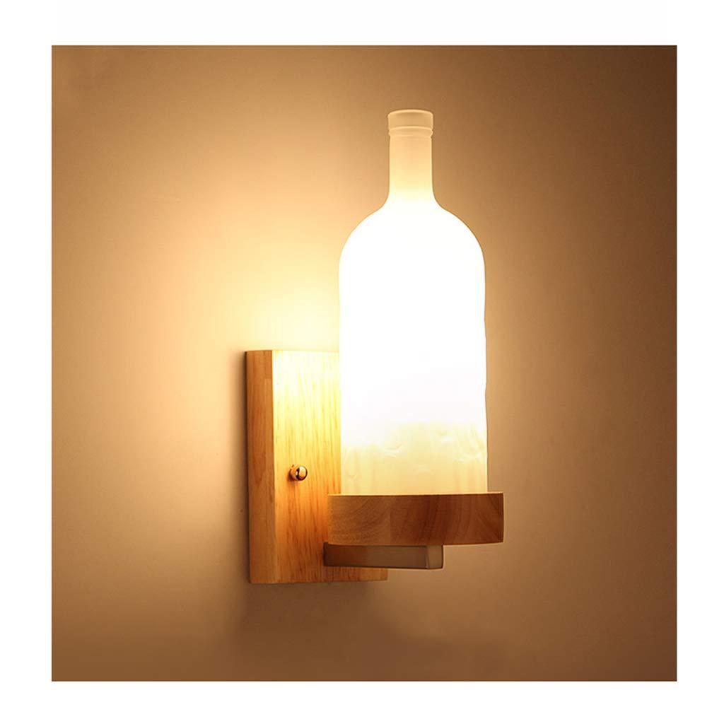 & Wandleuchten Wandleuchte E27 Kreative Massivholz Weinflasche Wohnzimmer Schlafzimmer Gang Cafe Wandleuchte (Farbe   5W LED)