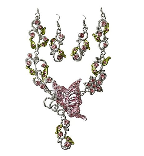 - Grenf Fashion Prom Wedding Bridal Jewelry Sets Exotic Multi-Colored Enamel Butterfly Flower Necklace with Stud Earring 4 Colors (Pink)