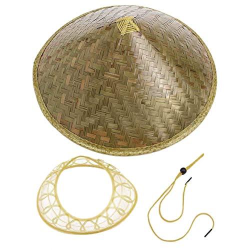 Kongqiabona Chinese Oriental Coolie Sun Hat Brimmed Bamboo Straw Hat Tourism Rain Cap Cone Conical Farmer Unisex Fishing Rice Hat ()