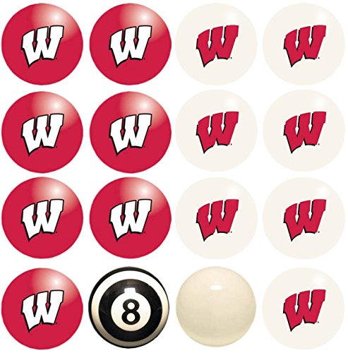 - Imperial Officially Licensed NCAA Merchandise: Home vs. Away Billiard/Pool Balls, Complete 16 Ball Set, Wisconsin Badgers