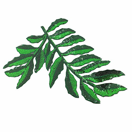 2pc 19x23cm Sew On Sequin Fern Leaf Patch Beaded Plant Applique Patches for Clothing Appliques Parches Bordados Ropa (Fern Patch)