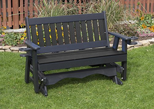 4FT-BLACK-POLY LUMBER Mission Porch GLIDER with Cupholder arms Heavy Duty EVERLASTING PolyTuf HDPE – MADE IN USA – AMISH CRAFTED For Sale