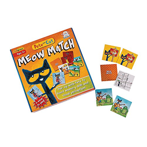 Fun Express - Pete The Cat Meow Match Game - Educational - Learning Aids - Misc Learning Aids - 1 Piece