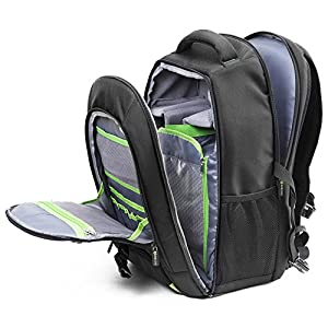Evecase Large DSLR Camera / Laptop Travel Backpack Bag w/ Rain Cover for Nikon / Sony / Canon / Fujifilm Full Frame, Mirrorless, 4/3 Micro Four third, Compact, Interchangeable Lens Digital Camera