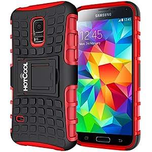 HOTCOOL Samsung Galaxy S5 Mini Case - Heavy Duty Rugged Dual Layer Holster 2014rar Case with Kickstand For 2014 Samsung Galaxy S5 Mini SM-G800F Smart Phone, Red