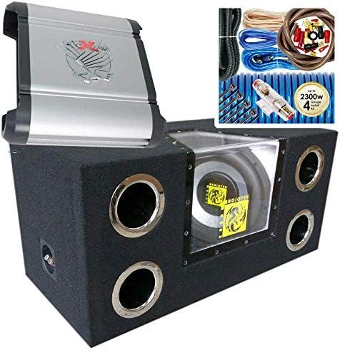 Audiotek AT-412WPE Twin 12″ 2000 Watt Energy Band Cross Subwoofer Enclosure + SoundXtreme ST-1000.2 2000 Watt Max Energy Automotive Audio Amplifier + Full 4GA Amp Set up Equipment