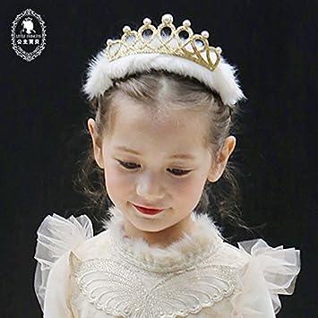 Amazon.com   Generic 2018 new South Korean girls hair band children  headband pearl hair bands New Year baby plush crown tiara tiara headdress  hair ... de3cecbafa3