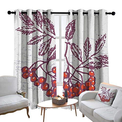 Lewis Coleridge Decorative Curtains for Living Room Rowan,Artistic Berry Bunch Hand Drawn Seasonal Fruit Natural Organic Food Theme, Purple Orange White,Blackout Draperies for Bedroom 52