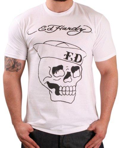 Ed Hardy Sailor Men's Crew Neck T-Shirt White L ()