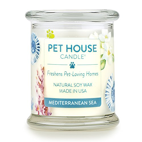 One Fur All 100% Natural Soy Wax Candle, 20 Fragrances - Pet Odor Eliminator, Appx 60 Hrs Burn Time, Non-toxic, Eco-Friendly Reusable Glass Jar Scented Candles - Pet House Candle, Mediterranean Sea