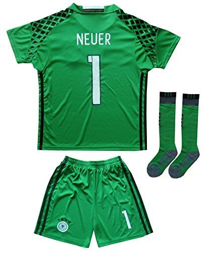 GERMANY NEUER #1 Goalie Football Soccer Kids Goalkeeper Jersey Short Socks Set Youth Sizes (Green, 8-9 YEARS)